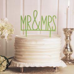 Cake Topper Mr & Mrs in Grün