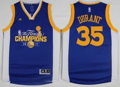 1145b941f Warriors  35 Kevin Durant Blue 2017 NBA Finals Champions Stitched NBA Jersey