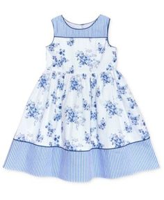 little girl dresses Laura Ashley Stripe Floral Cotton Dress, Toddler amp; Little Girls - Blue Frocks For Girls, Little Girl Outfits, Little Girl Fashion, Little Dresses, Little Girl Dresses, Kids Outfits, Fashion Kids, Girls Dresses, Baby Dresses