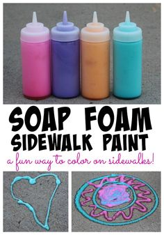 Soap Foam Sidewalk Paint - An easy recipe and fun way to color the sidewalks! - - Soap Foam Sidewalk Paint – An easy recipe and fun way to color the sidewalks! Soap Foam Sidewalk Paint – An easy recipe and fun way to color the sidewalks! Summer Fun For Kids, Summer Activities For Kids, Craft Activities, Toddler Activities, Diy For Kids, Crafts For Kids, Babysitting Activities, Kid Activites, Nanny Activities