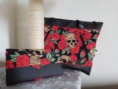 Compagnon Complice et sac Java rouge et noir à crânes cousus par Ange - Patron Sacôtin