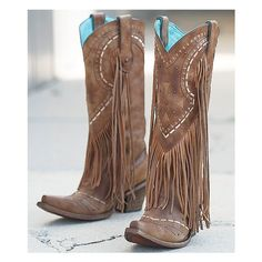 Corral Fringe Cowboy Boot ($330) ❤ liked on Polyvore featuring shoes, boots, brown, brown fringe boots, cowboy boots, vintage western boots, leather boots and tall leather boots