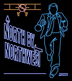 Cary Grant in North by Northwest . | 22 Animated Neon Posters From Classic Movies