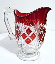 EAPG - Co-operative Flint Glass Co - Sheaf & Block / Alden - Ruby Flashed Pitcher 7 1/2""