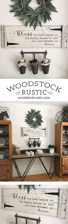 Who wouldn't love this classic prayer -- Bless the food before us the family beside us and the love between us Amen -- to compliment your farmhouse dining room or kitchen! Get yours here → https://www.woodstockrustic.com/online-store/Bless-the-Food-Sign-p85632346