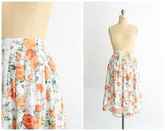 Vintage jaren 1950 hoge taille witte katoenen rok versierd met peachy Oranje…