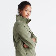 A sleeker, more streamlined rethink of our Outbound Jacket, this military-inspired style has clean lines, a stand-up collar, zip pockets and a waist-defining drawstring. It's one you'll hold on to for years to come. <ul><li>True to size.</li><li>Cotton.</li><li>Machine wash.</li><li>Import.</li></ul>