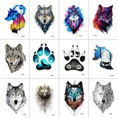 WYUEN 12 PCS/lot Wolf Temporary Tattoo Sticker for Women Men Fashion Body Art Adults Waterproof Hand Fake Tatoo 9.8X6cm W12-01 #TattooIdeasForMen