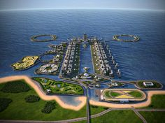 A concept for 41 man-made islands in the Caspian Sea.