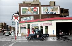 "A colorized version of ""Gas station in Benton Harbor, Michigan,"" July 1940. 35mm nitrate negative by John Vachon for the Farm Security Administration Shorpy Historical Photo Archive :: Benton Harbor (Colorized): 1940"