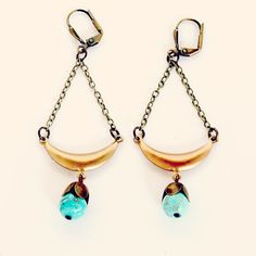 Turquoise and Brass Chandelier  Earrings by NestPrettyThingsShop