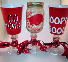 For all the Razorback Fans...show your support with these Hillbilly Razorback Wine Glasses or Razorback Red Solo Wine Cup! Licensed by Razorback Marketing and Licensing Board! And you save $$$s when buying 3 or more! Different HOG designs and slogans available! Complete with Razorback Ribbon!