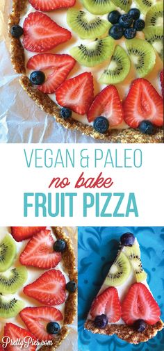 The ultimate crowd pleasing dessert you'll want to make for Memorial Day, 4th of July and for all those summer BBQs! No-Bake Fruit Pizza is so fresh and delicious, you'd never know it's dairy-free, gluten-free and has no refined sugar #vegan & #paleo #healthydessert recipe from PrettyPies.com