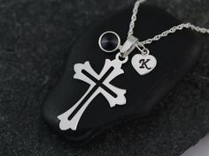 Cross with initial on sterling silver Heart & by LifeOfSilver