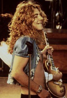 """Robert Plant on stage at Kezar Stadium in San Francisco, 1973."""