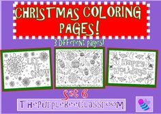 Christmas Coloring Pages Set 6 3 different pages to color You may print and reproduce as many copies of these as you would like for personal and classroom use! Thanks for looking, and have a great day! The Purple Bee Classroom