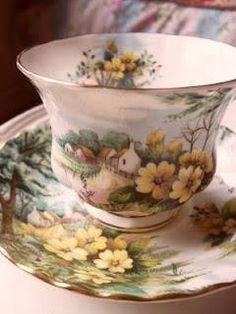 Pretty Yellow Flowers On This Tea Set.....
