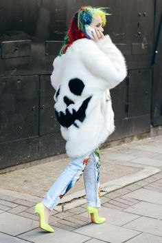 Jack'o-lantern smile white faux fur coat