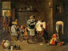 """A Monkey Barber-Surgeon Establishment"" David Teniers the Younger (Flemish 1610-1690)"