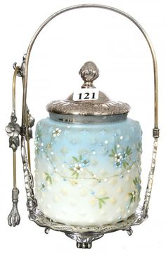 Mt. Washington Blue and White Diamond Mold Glass Pickle Castor with Pairpoint Silver Frame