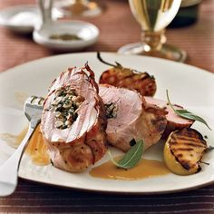 Stuffed Pork Tenderloins with Bacon and Apple-Riesling Sauce | Food & Wine