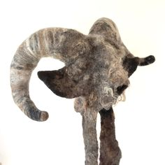 Wild Things Goat Boy Headdress with posable horns in a rugged raw fleece giving this hand felted hat bags of character and big presence on stage. Capricorn Goat, Animal Hats, Wild Things, Felt Animals, Just For Fun, Headdress, Wearable Art, Horns, Stage