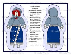 Victorian Annie Cut and Sew Doll Ornaments - Linda Walsh Originals - Custom Fabric Designs By Linda Walsh