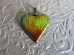 Dichroic Heart Pendant  Fused Glass Jewellery  by feesfusions