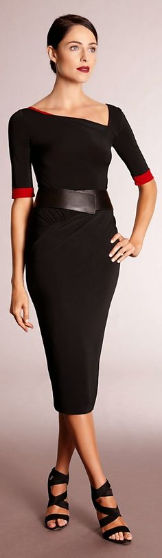 Luv to Look | Curating Fashion & Style: Women's fashion Donna Karan black and red dress