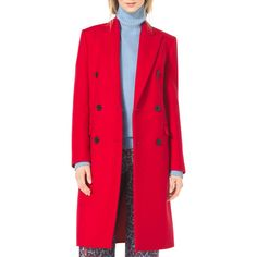 Michael Kors Collection  Double-Breasted Wool Coat (70,725 MKD) ❤ liked on Polyvore featuring outerwear, coats, scarlet, michael kors, double breasted wool coat, pink wool coat, long sleeve coat and double-breasted coat