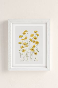 Yellow Cosmos Flowers Framed Art Print by Jessica Rose - Conservation Pecan - Yellow Room Decor, Yellow Wall Art, Yellow Walls Bedroom, Yellow Bedrooms, Kid Bedrooms, Framed Art Prints, Wall Art Prints, Kitchen Art Prints, Ivar Hack
