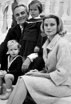 Late 1950's Or Early 60's ~ The Royal Family Of Monaco ~ Prince Rainier, Princess Caroline, Princess Grace And Prince Albert