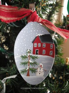 House and Snowman Spoon Ornament by CyndiMacsNickKnacks on Etsy, $10.95