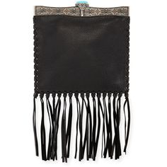 Valentino Metal-Framed Leather Fringe Shoulder Bag (20.300 RON) ❤ liked on Polyvore featuring bags, handbags, shoulder bags, black, fringe tassel shoulder bag, shoulder handbags, metal purse, fringe shoulder bag and tassel purse