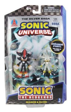 """Shadow & Silver ~3"""" Mini-Figures: Sonic The Hedgehog Modern Comic Book Pack Series (Exclusive Paint) by Jazwares. $28.98. Each figure is capable of multiple points of articulations.. Includes two action figures and a comic book.. For age 4+. From the hit Sega video games, here comes the Sonic The Hedgehog Dual Action Figure Comic Book Pack series. Help protect the world from Egghead with this figures from the Jazwares Sonic The Hedgehog Dual Action Figure Comic B..."""