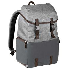 """$15 off coupon: Manfrotto Windsor Grey Explorer Camera Backpack with Clips. Vintage-themed look, water resistant material, high-quality leather trims, adjustable shoulder strap, soft plaid lining, carry your tripod via the two adjustable attachments and dedicated compartment for storing a 15"""" laptop. Padded inside divider to easily store your medium DSLR with an attached 70-200/2.8 lens plus 2 additional lenses. Or store your premium CSC camera with multiple lenses."""