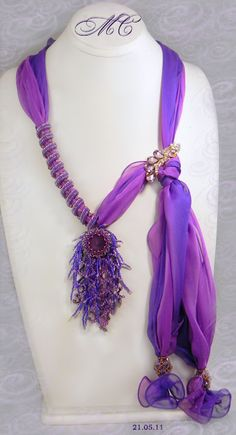 Love these scarves by Marina Somova. Part jewelry, part scarf, pure elegance!