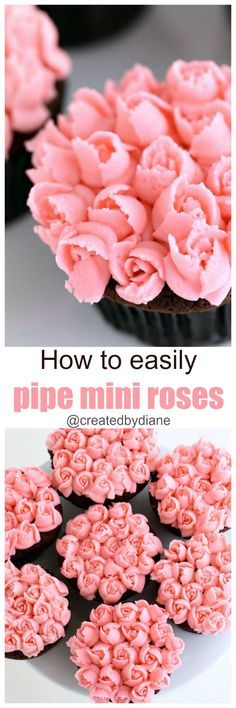 Learn how to easily pipe mini roses with frosting with video can be put on cupcakes, cookies, cakes. Great skill for hosting a cake decorating party! Frosting Tips, Fondant Icing, Cupcake Frosting, Frosting Recipes, Icing Recipe, Cupcake Cookies, Cupcake Recipes, Fondant Baby, Fondant Cakes