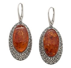 Amber Sterling Silver Scroll Work Earrings