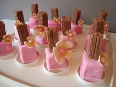 Nail Polish Cupcakes | Instead of using marshmallows she used pieces of cake cut off from the ...