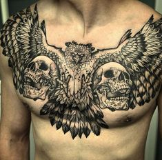 hawk and skulls #tattoo on chest