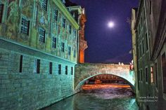 """Bamberg, Bavaria, Germany, Europe:  Bamberg at night.  Just 5 minutes to walk from the one thousand year old cathedral (""""Bamberger Dom"""")."""