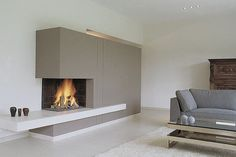 Idea for a fireplace. Modern Fireplace, Fireplace Design, Gas Fireplace, Contemporary Fireplaces, Interior Architecture, Interior Design, New Home Designs, Home And Living, Building A House