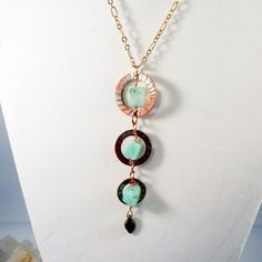 Chrysoprase Apple-Green Necklace Pendant Copper Dangle by clairecreations on Etsy