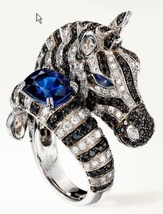Boucheron Zebra Ring set with blue sapphires, pink sapphires and diamonds