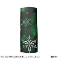 Chic Emerald Green Snowflake Motif Pillar Candle Holiday Cards, Christmas Cards, Christmas Decorations, Flameless Candles, Pillar Candles, Custom Candles, Candle Set, Christmas Items, Christmas Card Holders