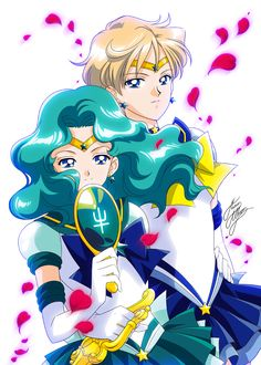 anime style Sailor Neptune and Sailor Uranus fanart Sailor Moons, Sailor Moon Manga, Sailor Moon Drops, Watch Sailor Moon, Sailor Neptune, Sailor Saturn, Sailor Moon Art, Sailor Princess, Sasameki Koto