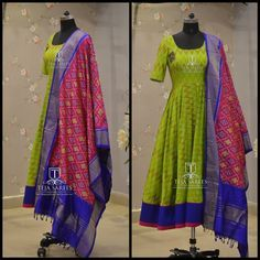 Beautiful green color floor length anarkali dress with ikkat dupatta. TS-DS- 498 Available For orders/queries Call/ whats app on 8341382382 or Mail tejasarees@yahoo.com.