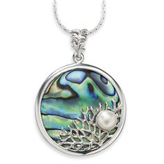 Abalone and Freshwater Pearl Silverplated Pendant
