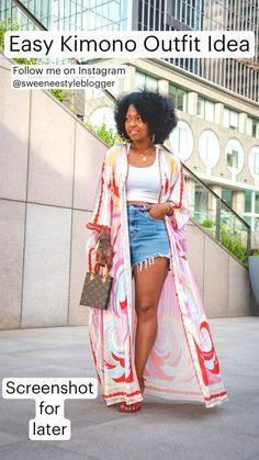 60 Fashion, Black Girl Fashion, Fashion Outfits, Spring Summer Fashion, Spring Outfits, Classy Outfits, Cute Outfits, Kimono Outfit, Kimono Style
